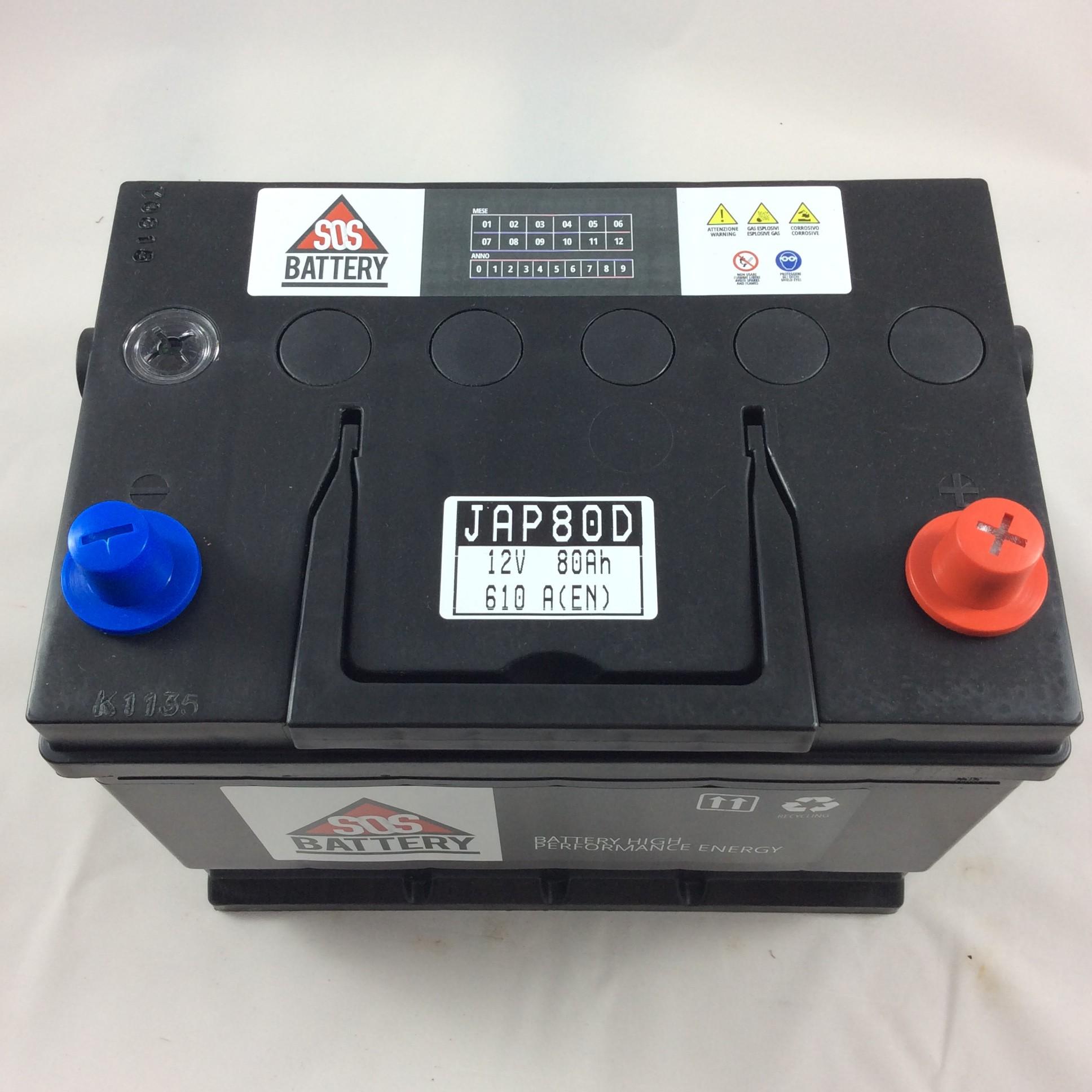 batteria sos battery 12v 80ah 640a en jap80d sos battery vendita batterie online a prezzi. Black Bedroom Furniture Sets. Home Design Ideas