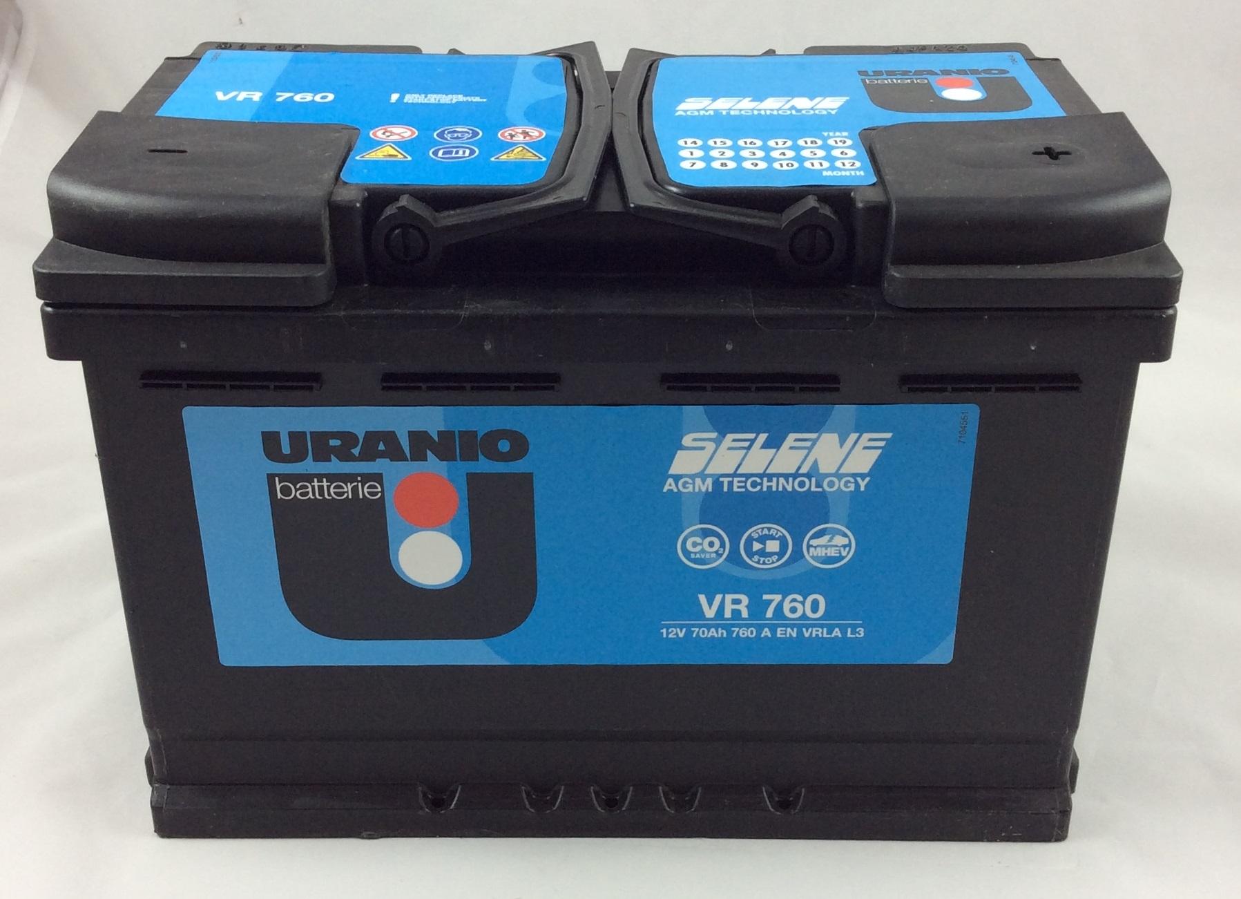 batteria uranio start e stop 12v 70ah 760a en vr760 sos battery vendita batterie online a. Black Bedroom Furniture Sets. Home Design Ideas