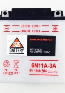 BATTERIA MOTO D'EPOCA 6V 11AH 50CCA 6N11A3A (BM106)