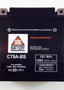 BATTERIA MOTO-SCOOTER SOS BATTERY  12V 9AH BM 211/A SIGILLATA- CT9A-BS