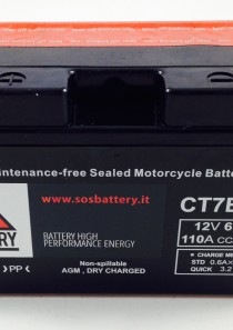 BATTERIA MOTO-SCOOTER SOS BATTERY 12 V 6,5 AH BM 301/A SIGILLATA – CT7B-BS – (AC) CARICA – PRONTA ALL'INSTALLAZIONE