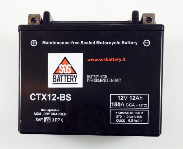 BATTERIA MOTO-SCOOTER SOS BATTERY 12V 12AH BM 303 SIGILLATA