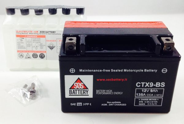 BATTERIA MOTO-SCOOTER SOS BATTERY 12V 9AH BM 302 SIGILLATA