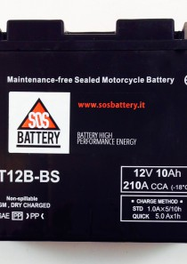 BATTERIA MOTO-SCOOTER SOS BATTERY 12V 10AH BM 303/A SIGILLATA – CT12B-BS – (AC) CARICA – PRONTA ALL'INSTALLAZIONE