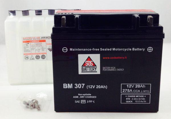 BATTERIA MOTO-SCOOTER SOS BATTERY 12V 20AH BM 307 SIGILLATA