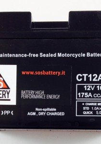 BATTERIA MOTO-SCOOTER SOS BATTERY 12V 10AH BM 302/C SIGILLATA – CT12A-BS – (AC) CARICA – PRONTA ALL'INSTALLAZIONE