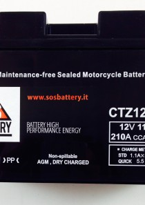 BATTERIA MOTO-SCOOTER SOS BATTERY 12V 11AH BM 660 SIGILLATA – CTZ12-BS – (AC) CARICA – PRONTA ALL'INSTALLAZIONE