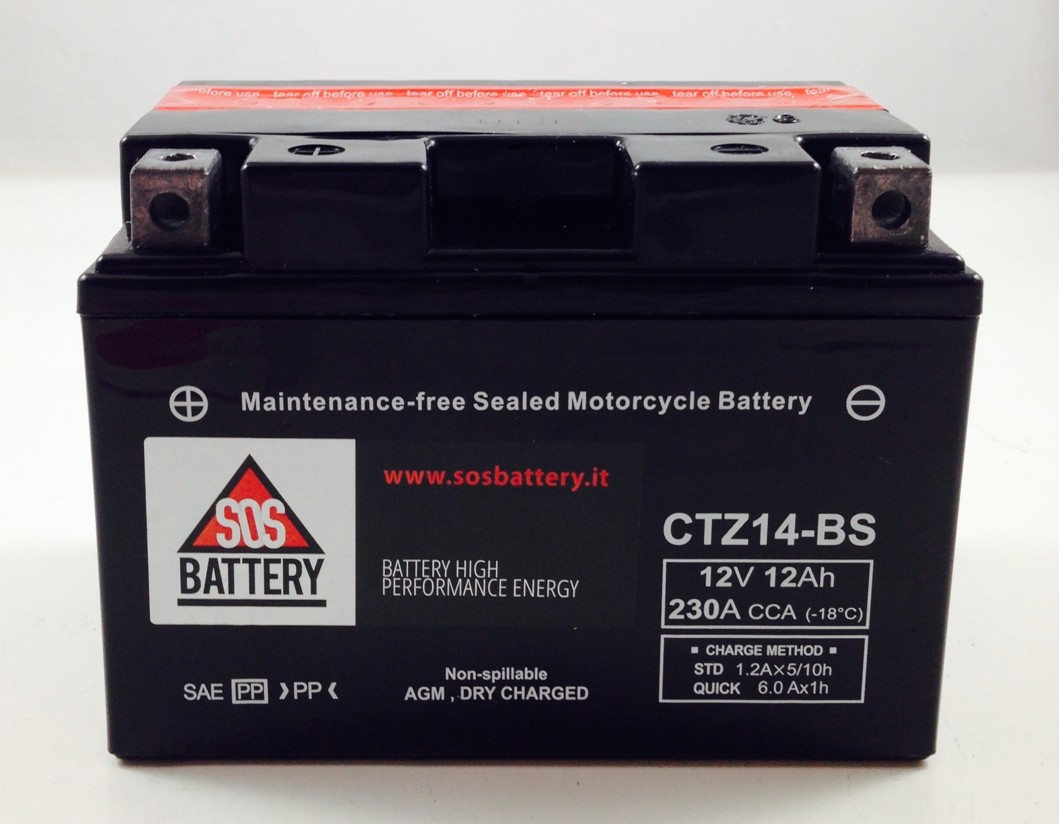 Batteria moto scooter sos battery 12v 12ah bm 670 for Bricoman batteria 12v