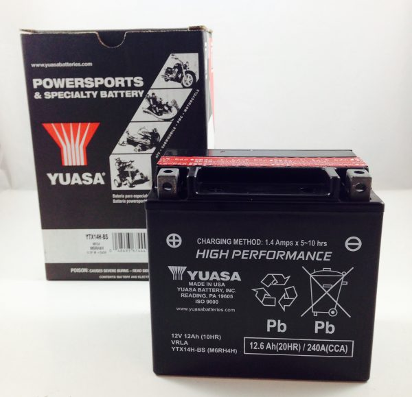 BATTERIA MOTO-SCOOTER YUASA 12V 12AH YTX14H-BS SIGILLATA HIGH PERFORMANCE